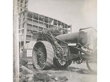 San Francisco earthquake using steam-powered tractors were used to clear rubble and help people and businesses recover in San Francisco, California (1906).