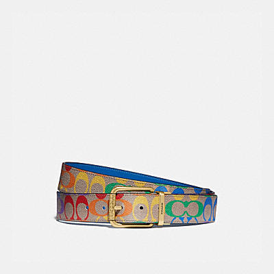 ROLLER BUCKLE CUT-TO-SIZE REVERSIBLE BELT IN RAINBOW SIGNATURE CANVAS, 38MM