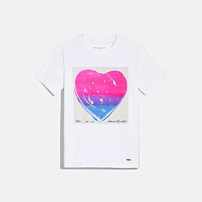 COACH X RICHARD BERNSTEIN ピンク アンド ブルー ジェロ ハート Tシャツ