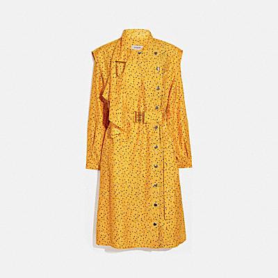 ドット プリント アーキテクチュラル ドレープ ベルテッド ドレス