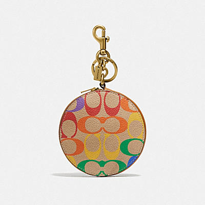 COIN CASE BAG CHARM IN RAINBOW SIGNATURE CANVAS