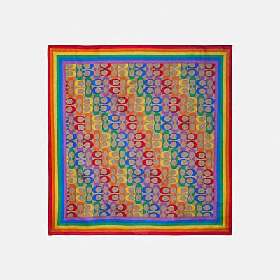 コーチ COACHのスカーフ |【オンライン限定】レインボー シグネチャー シルク バンダナ