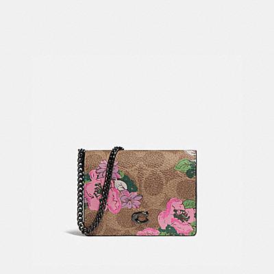 チェーン カード ケース シグネチャー キャンバス ウィズ ブロッサム プリント