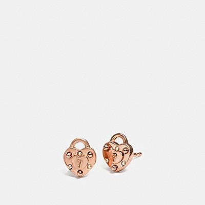 MINI18K 鍍金心形鎖頭耳環