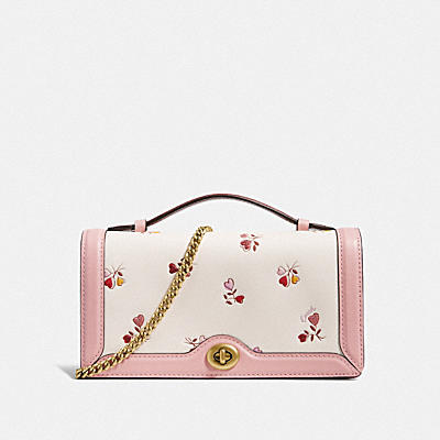 RILEY CHAIN CLUTCH WITH HEART FLORAL PRINT