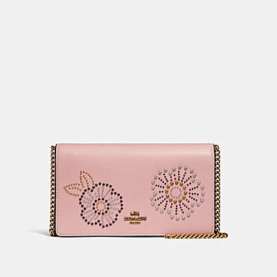 CALLIE FOLDOVER CHAIN CLUTCH WITH TEA ROSE RIVETS