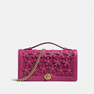 RILEY CHAIN CLUTCH WITH FLORAL APPLIQUE