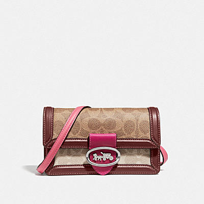 RILEY CONVERTIBLE BELT BAG IN BLOCKED SIGNATURE CANVAS