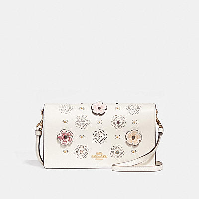 HAYDEN FOLDOVER CROSSBODY CLUTCH WITH CUT OUT TEA ROSE