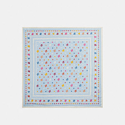 COACH FLORAL BANDANA COTTON SILK SQUARE
