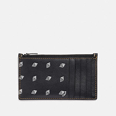 ZIP CARD CASE WITH DOT DIAMOND PRINT