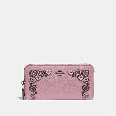 ACCORDION ZIP WALLET WITH HEARTS