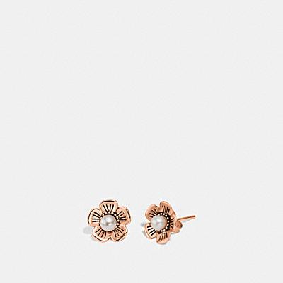 淡水珍珠茶香玫瑰耳環