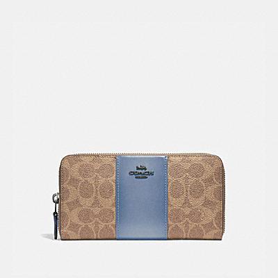 コーチ COACHの人気財布&革小物 |アコーディオン ジップ ウォレット カラーブロック シグネチャー キャンバス