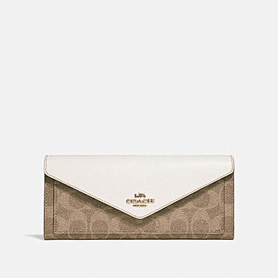 SOFT WALLET IN COLORBLOCK SIGNATURE CANVAS