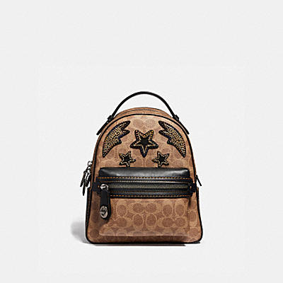 CAMPUS BACKPACK 23 IN SIGNATURE CANVAS WITH RAINBOW CRYSTAL EMBELLISHMENT