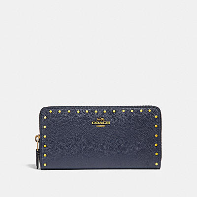 ACCORDION ZIP WALLET WITH RIVETS