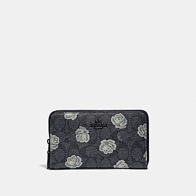 MEDIUM ZIP AROUND WALLET IN SIGNATURE ROSE PRINT