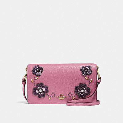 HAYDEN FOLDOVER CROSSBODY CLUTCH WITH LEATHER SEQUIN APPLIQUE