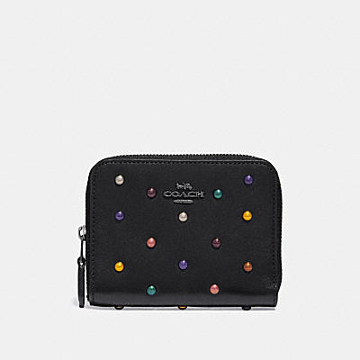 SMALL ZIP AROUND WALLET WITH RAINBOW RIVETS