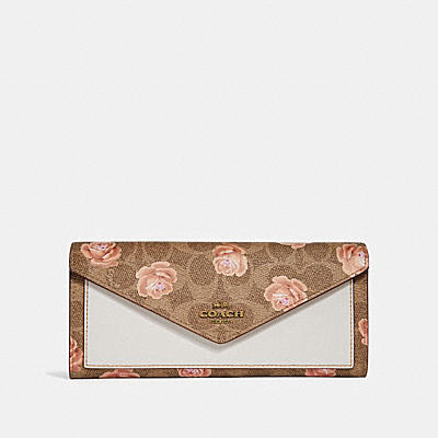 SIGNATURE玫瑰印花圖案柔軟皮夾