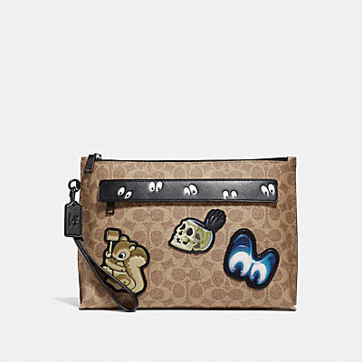 DISNEY X COACH CARRYALL POUCH WITH SIGNATURE PATCHWORK