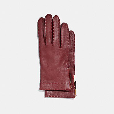 DEERSKIN LEATHER TAB ZIPPER GLOVES