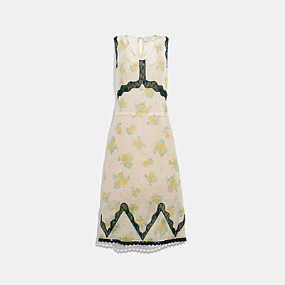 FOREST FLORAL PRINT SLEEVELESS DRESS