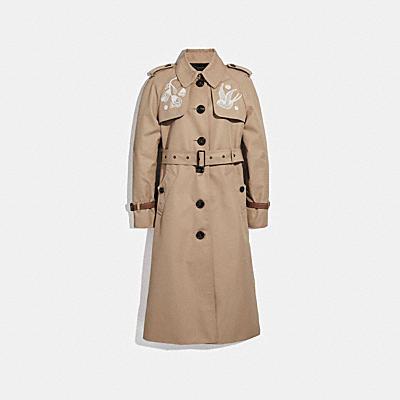 蕾絲刺繡皮革大衣
