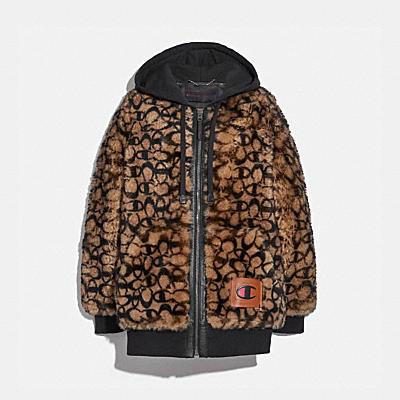 COACH X CHAMPION 超級刷絨 SHEARLING 連帽外套