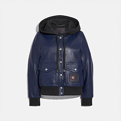 COACH X CHAMPION SUPER FLEECE HOODED LEATHER JACKET