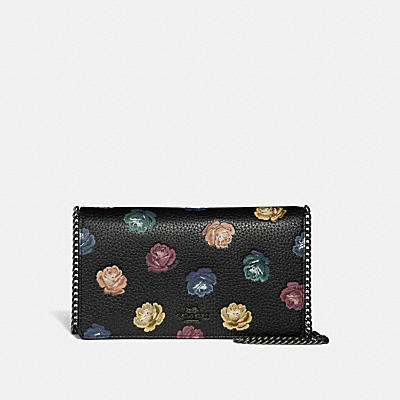 CALLIE FOLDOVER CHAIN CLUTCH WITH RAINBOW ROSE PRINT