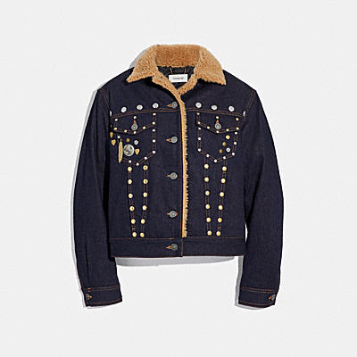 EMBELLISHED DENIM JACKET WITH SHEARLING
