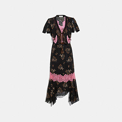 FLORAL BOUQUET PRINT LACE TRIM DRESS
