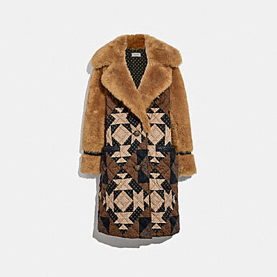 PATCHWORK SHEARLING OVERCOAT