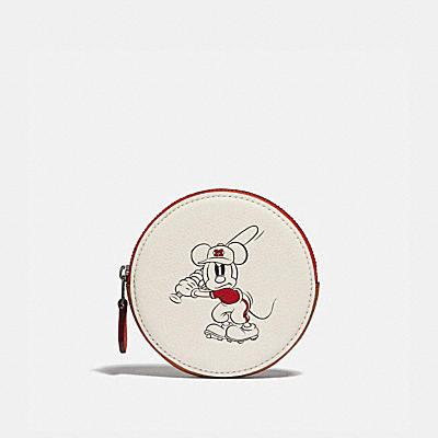 コーチ COACHの財布&革小物 |DISNEY X COACH ラウンド コイン ケース ウィズ ベースボール ミッキーマウス