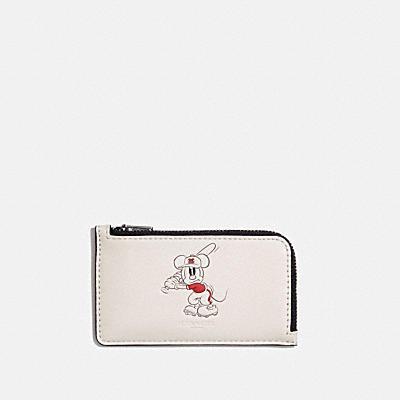 コーチ COACHのコインケース&小銭入れ |DISNEY X COACH Lジップ カード ケース ウィズ ベースボール ミッキーマウス