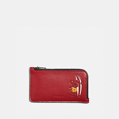 コーチ COACHのコインケース&小銭入れ |DISNEY X COACH Lジップ カード ケース ウィズ サーフ ミッキーマウス