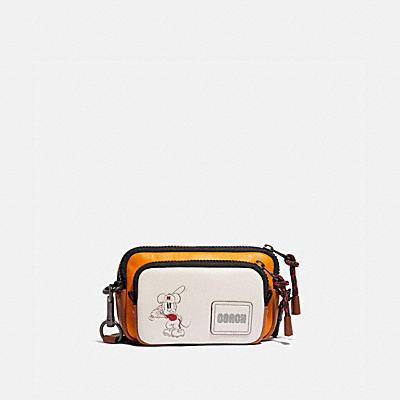 コーチ COACHのメッセンジャーバッグ |DISNEY X COACH ペイサー コンバーチブル ダブル ポーチ ウィズ ベースボール ミッキーマウス