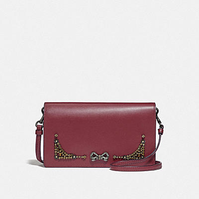SELENA HAYDEN FOLDOVER CROSSBODY CLUTCH WITH CRYSTAL EMBELLISHMENT