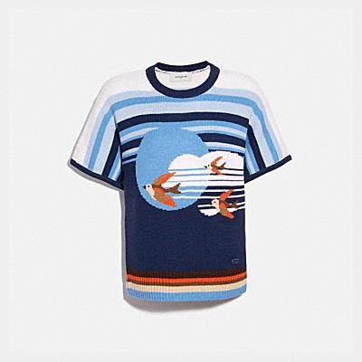 숏 슬리브 그래픽 스웨터