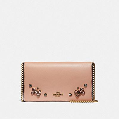 CALLIE 水晶貼飾鍊帶摺疊手拿包
