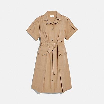 棉質抓腰襯衫連身裙