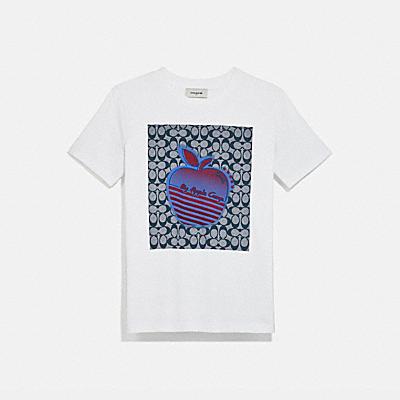 글리치 애플 그래픽 캠프 티셔츠
