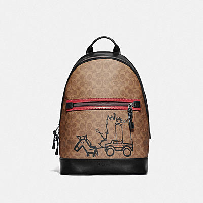 BARROW BACKPACK IN SIGNATURE CANVAS WITH SKYLINE HORSE AND CARRIAGE