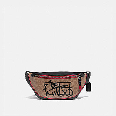 RIVINGTON BELT BAG IN SIGNATURE CANVAS WITH ABSTRACT HORSE AND CARRIAGE