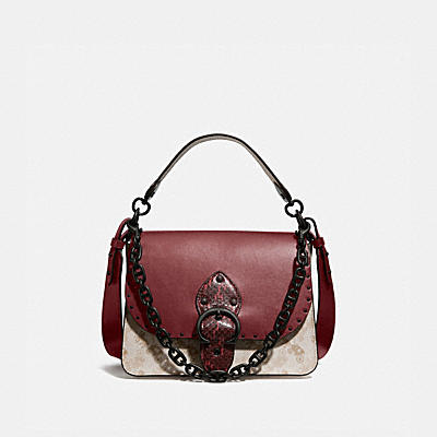 BEAT SHOULDER BAG WITH HORSE AND CARRIAGE PRINT AND SNAKESKIN DETAIL