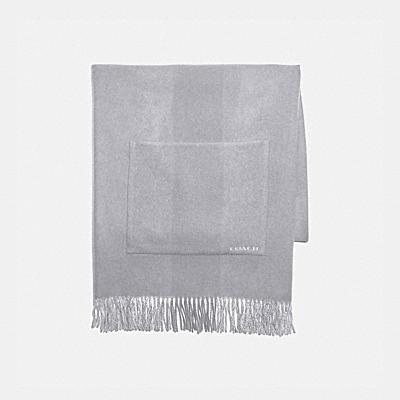 雙面條紋印花喀什米爾羊絨寬版圍巾