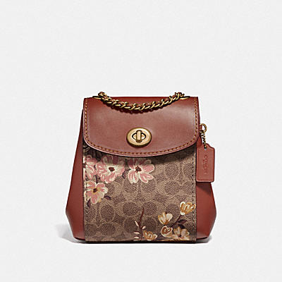 PARKER CONVERTIBLE BACKPACK 16 IN SIGNATURE CANVAS WITH PRAIRIE FLORAL PRINT