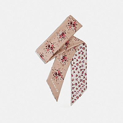 ミニ ビンテージ ローズ プリント シルク スキニー スカーフ
